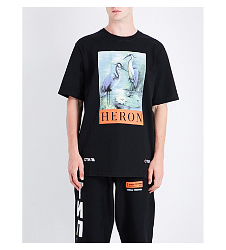 HERON PRESTON Herons cotton T-shirt (Black+multi