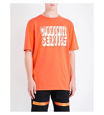 HERON PRESTON Community Service cotton T-shirt (Orange+white