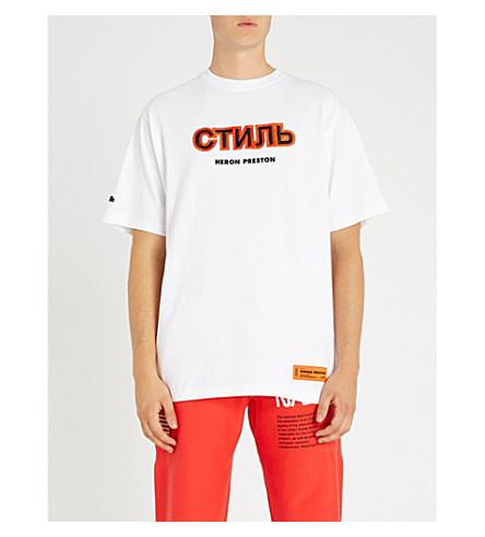 HERON PRESTON Logo-embroidered cotton-jersey T-shirt (White+orange