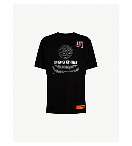 HERON PRESTON Influencer-print cotton-jersey T-shirt (Black crystal