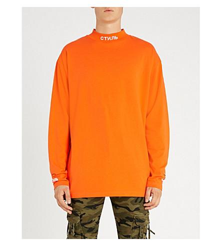 HERON PRESTON Logo-embroidered cotton-jersey T-shirt (Dark+orange