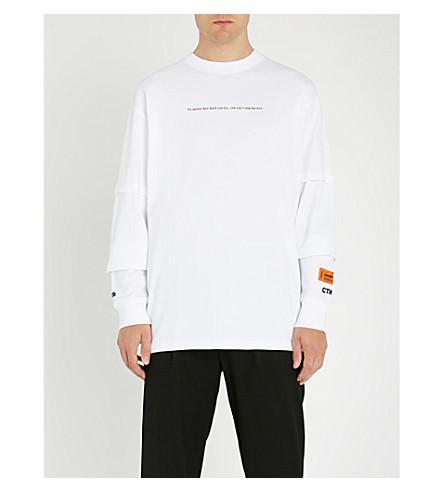 HERON PRESTON Me v Me cotton-jersey top (White+bordeaux