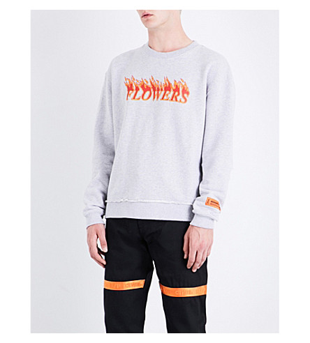 HERON PRESTON Flaming Flowers cotton sweatshirt (Melange+grey