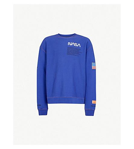 HERON PRESTON Text-embroidered cotton-jersey sweatshirt (Blue+orange