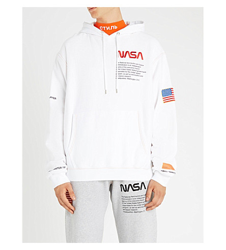 HERON PRESTON Text-embroidered cotton-jersey hoody (White+orange