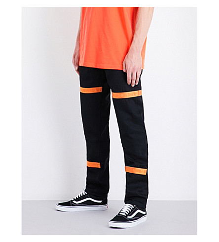 HERON PRESTON Raw regular-fit high-rise woven jeans (Black+orange
