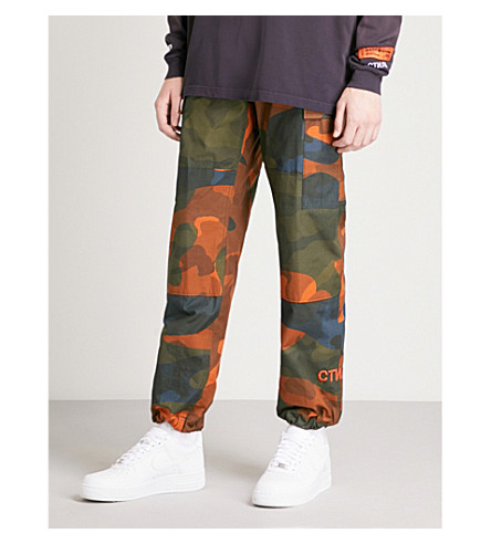 HERON PRESTON Camo-print relaxed-fit tapered cotton trousers (Multicolour