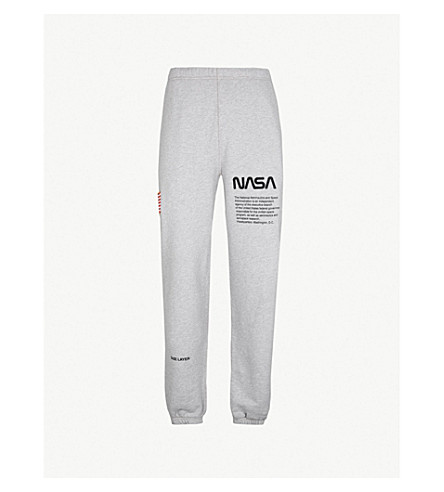 HERON PRESTON Text-print cotton-jersey jogging bottoms (Melange grey black