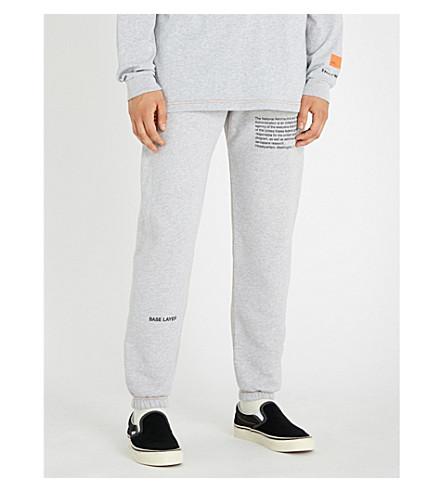 HERON PRESTON Text-print cotton-jersey jogging bottoms (Melange+grey+black