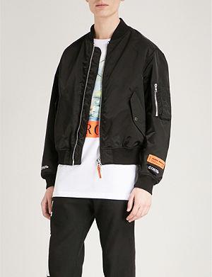HERON PRESTON Heron-print padded satin bomber jacket