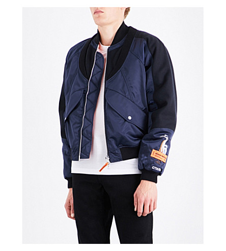 HERON PRESTON Heron-print shell bomber jacket (Dark+blue+multi