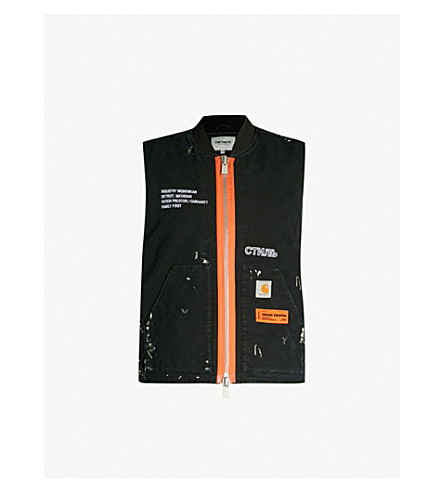 HERON PRESTON Heron Preston x Carhartt WIP embellished cotton vest (Black crystal