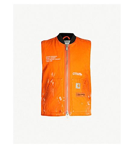 HERON PRESTON Heron Preston x Carhartt WIP embellished cotton vest (Orange crystal