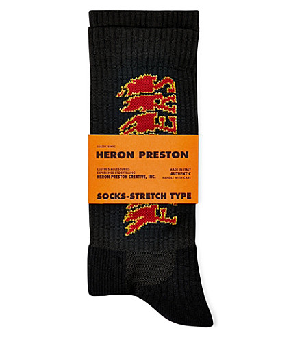 HERON PRESTON Flowers woven socks (Black+red