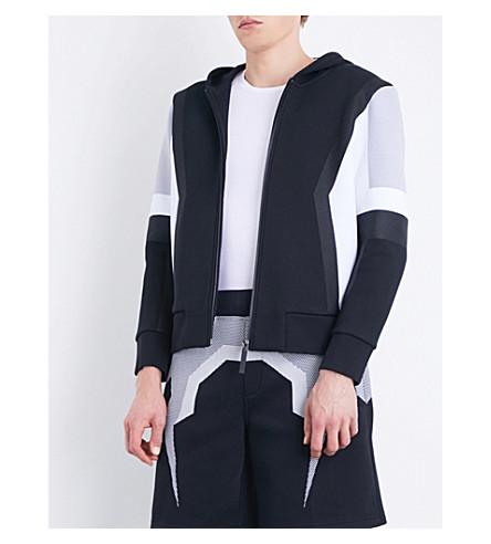 BLACKBARRETT Mesh-printed jersey hoody (Black+white