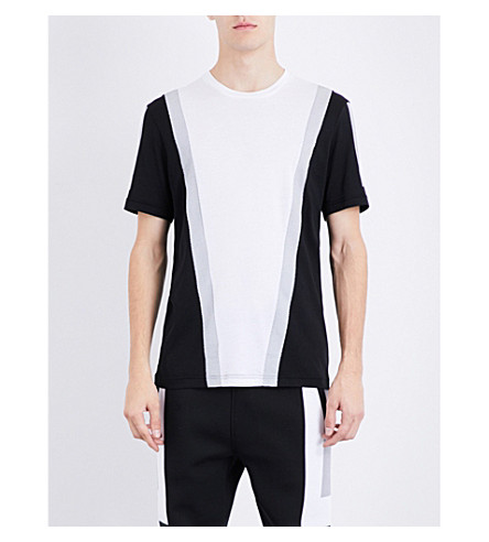 BLACKBARRETT Mesh-print cotton-blend T-shirt (Black+white