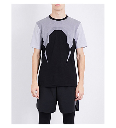 BLACKBARRETT Bolt mesh cotton T-shirt (Black+white