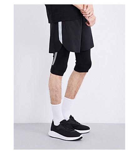 BLACKBARRETT Reflective-stripes cropped stretch-jersey leggings (Blk/+silver
