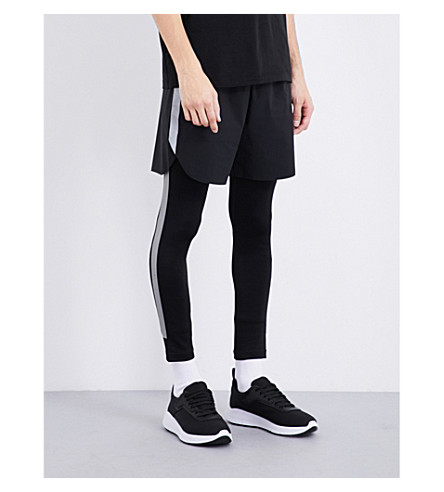 BLACKBARRETT Reflective-stripes stretch-jersey leggings (Blk/+silver