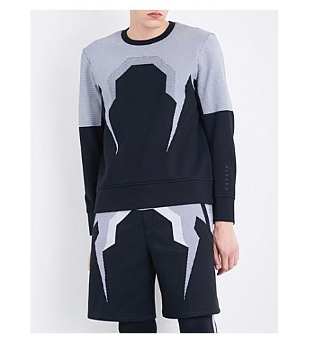BLACKBARRETT Bolt mesh neoprene sweatshirt (Black+white