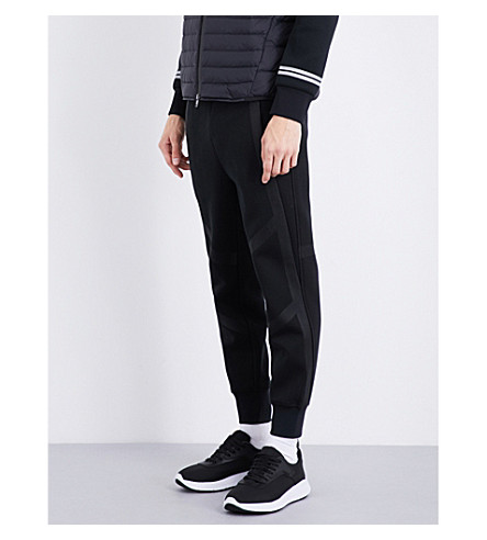 BLACKBARRETT Panelled cotton-blend jogging bottoms (Black+black