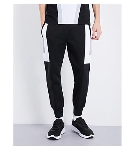 BLACKBARRETT Mesh-blocking cotton-blend jogging bottoms (Black+white