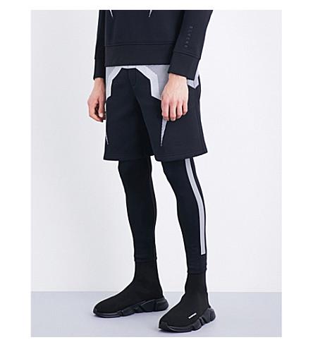 BLACKBARRETT Bolt mesh jersey shorts (Black+white