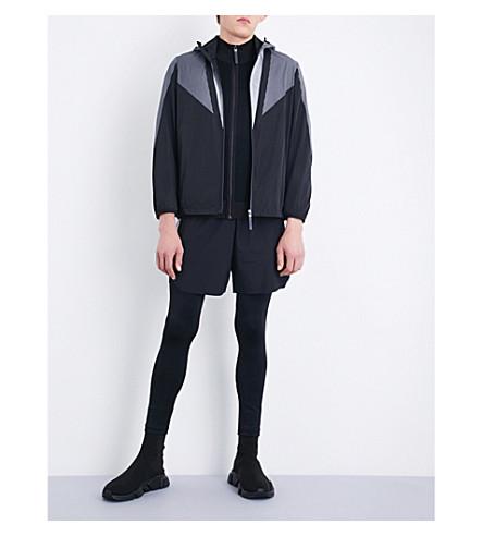 BLACKBARRETT Mesh-printed shell windbreaker jacket (Black+white