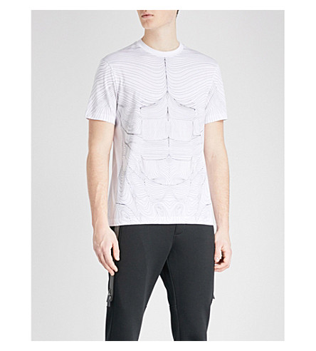 BLACKBARRETT Muscle-pattern cotton-jersey T-shirt (White