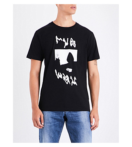 RYE WAX Rye wax-print cotton-jersey T-shirt (Black