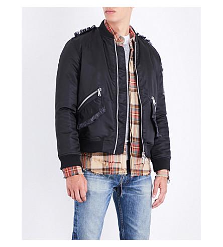 NOUNION Frayed-trim shell bomber jacket (Black