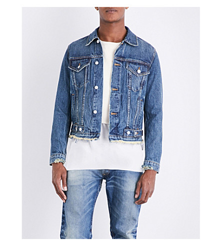 NOUNION Frayed-hem denim jacket (Blue