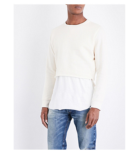 NOUNION Stepped-hem cropped cotton-jersey sweatshirt (White