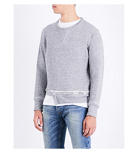 NOUNION Notched zip-hem cotton-jersey sweatshirt (Grey