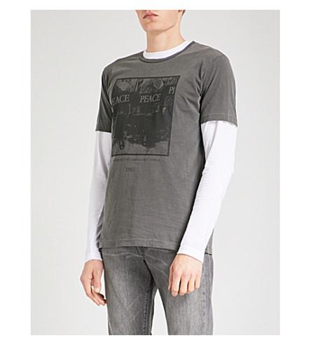 DAVID LINDWALL Peace cotton-jersey T-shirt (Black+on+black