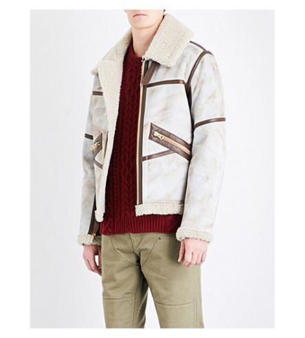 SCHOTT Funnel neck shearling aviator jacket (Cream