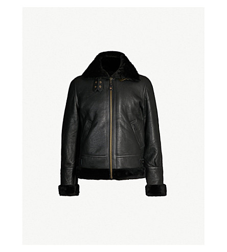 SCHOTT Leather and shearling jacket (Black