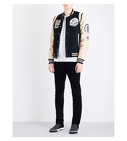 SCHOTT Patch appliqué wool-blend and leather varsity jacket (Black+cream