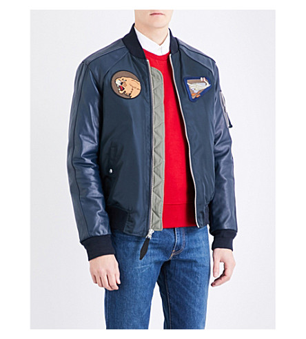 SCHOTT Patch appliqué shell and leather bomber jacket (Navy