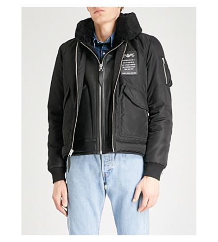 肖特羊毛内衬壳体和皮革软壳面料夹克 (黑色