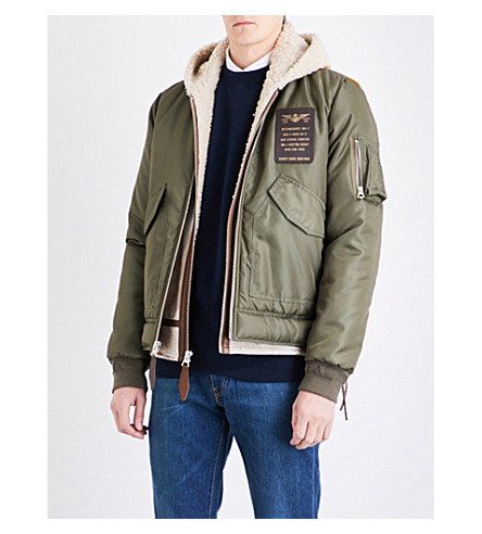 SCHOTT Shearling-lined shell and leather jacket (Khaki