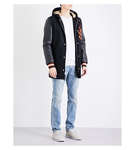 SCHOTT Hooded longline wool and leather varsity jacket (Black