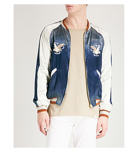 STAMMBAUM London satin bomber jacket (Navy+off+white