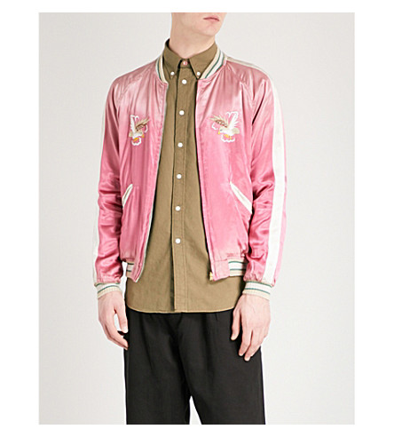 STAMMBAUM Japan satin bomber jacket (Pink+off+white