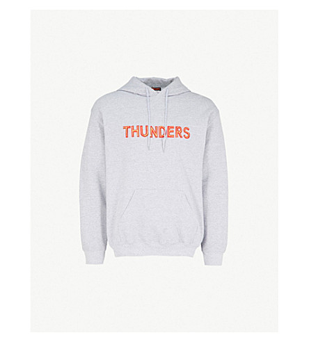 THUNDERS Logo-print cotton-blend hoody (Marl+grey+red