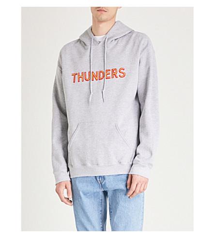 THUNDERS Logo-print cotton-blend hoody (Marl+grey+red