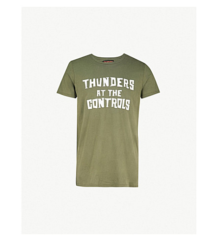 THUNDERS Logo-print cotton-jersey T-shirt (Olive