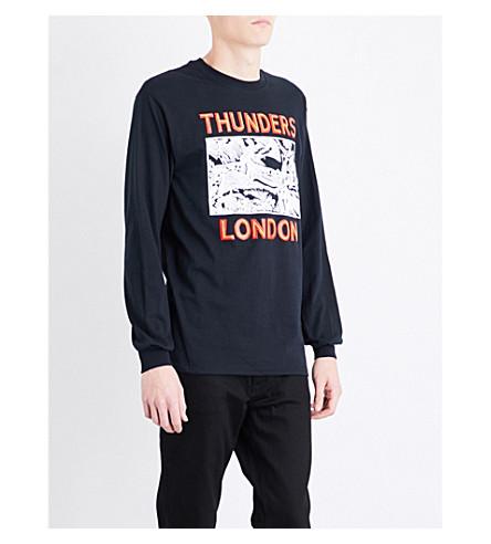 THUNDERS London-print cotton-jersey top (Black