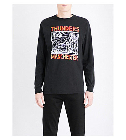 THUNDERS Manchester-print cotton-jersey top (Black