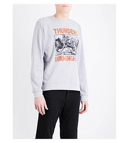 THUNDERS Birmingham-print cotton-jersey sweatshirt (Heather+grey